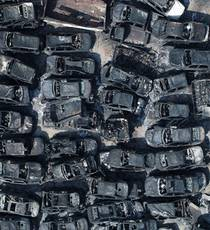 Burnt-out junkyard left in the wake of wildfire in South Korea